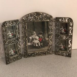 Standing photo picture frame - pewter - trifold